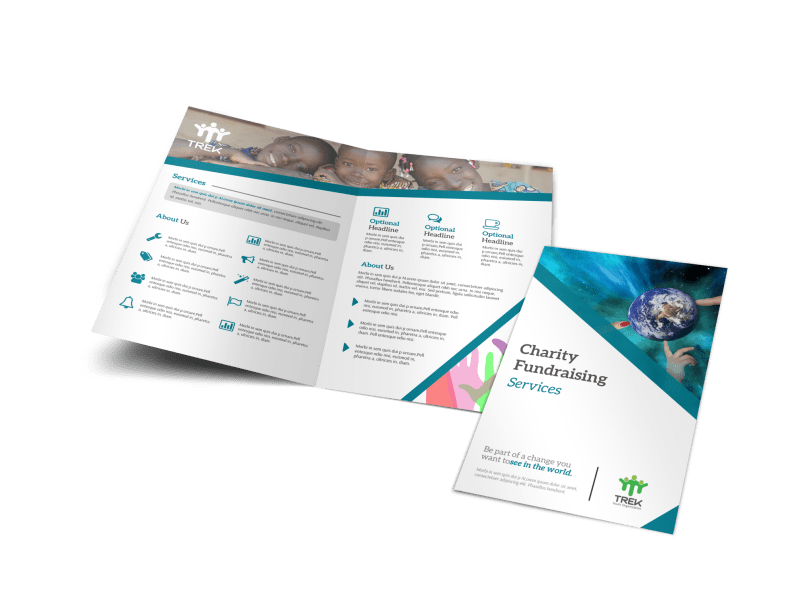 Charity Fundraising Bi-Fold Brochure Template Preview 1