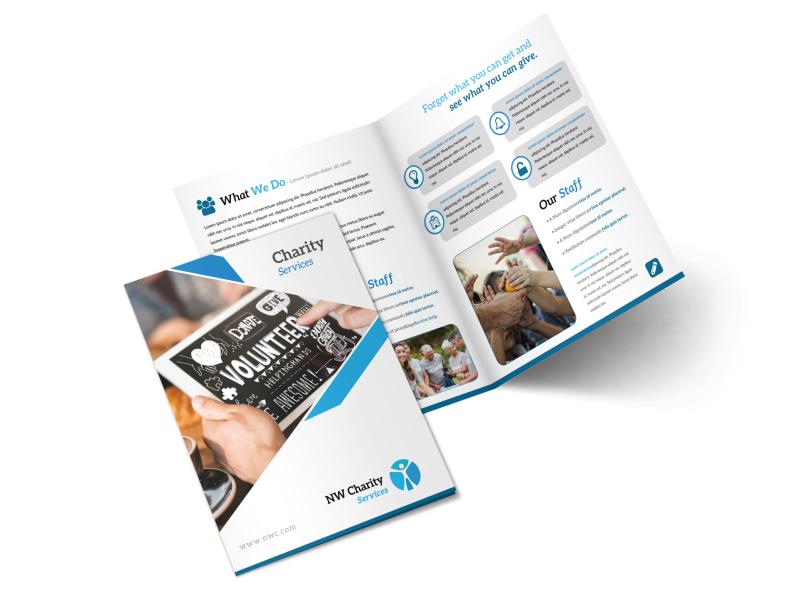 Clean Charity Bi-Fold Brochure Template