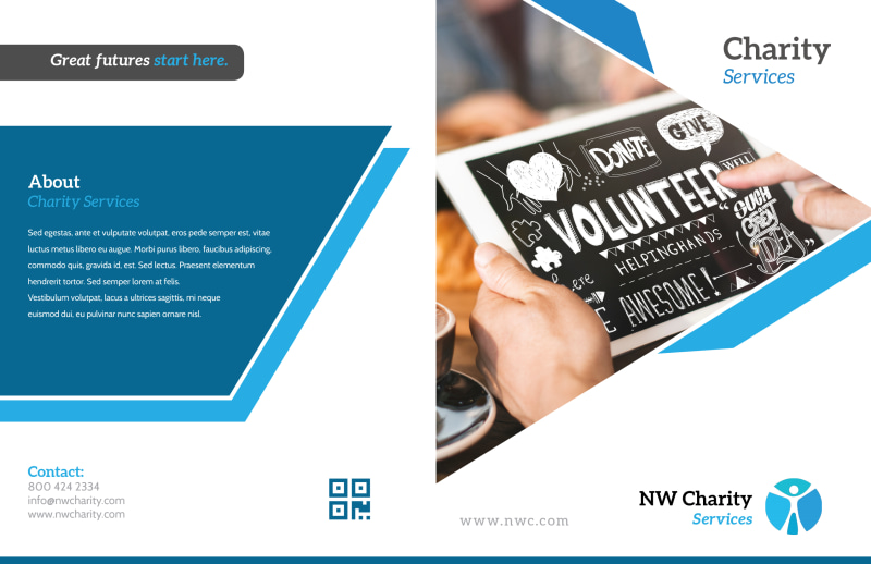Clean Charity Bi-Fold Brochure Template Preview 2