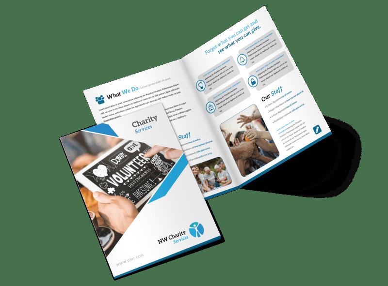 Clean Charity Bi-Fold Brochure Template Preview 1