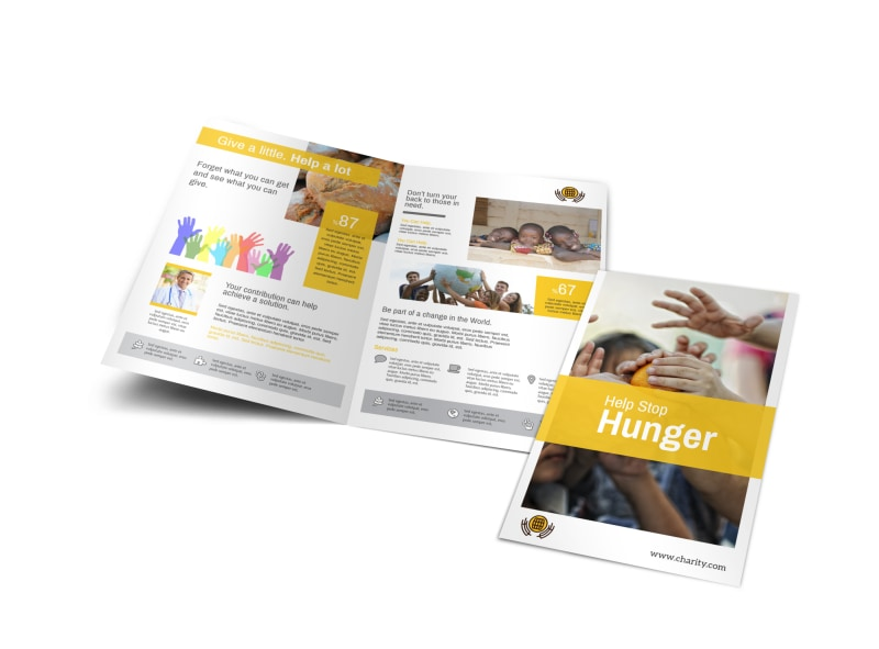 Stop Hunger Charity Bi-Fold Brochure Template
