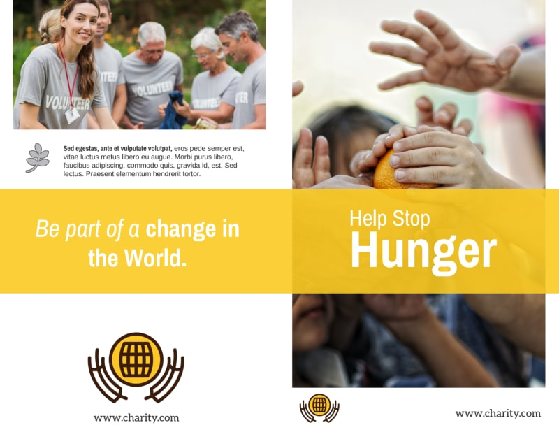 Stop Hunger Charity Bi-Fold Brochure Template Preview 2