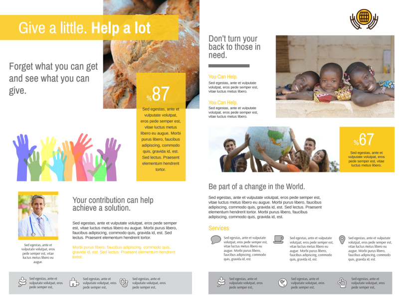 Stop Hunger Charity Bi-Fold Brochure Template Preview 3