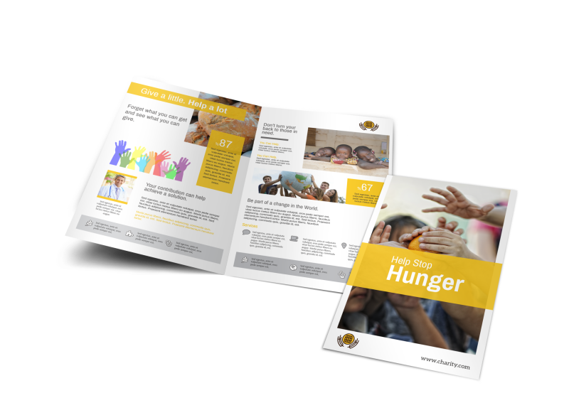 Stop Hunger Charity Bi-Fold Brochure Template Preview 1