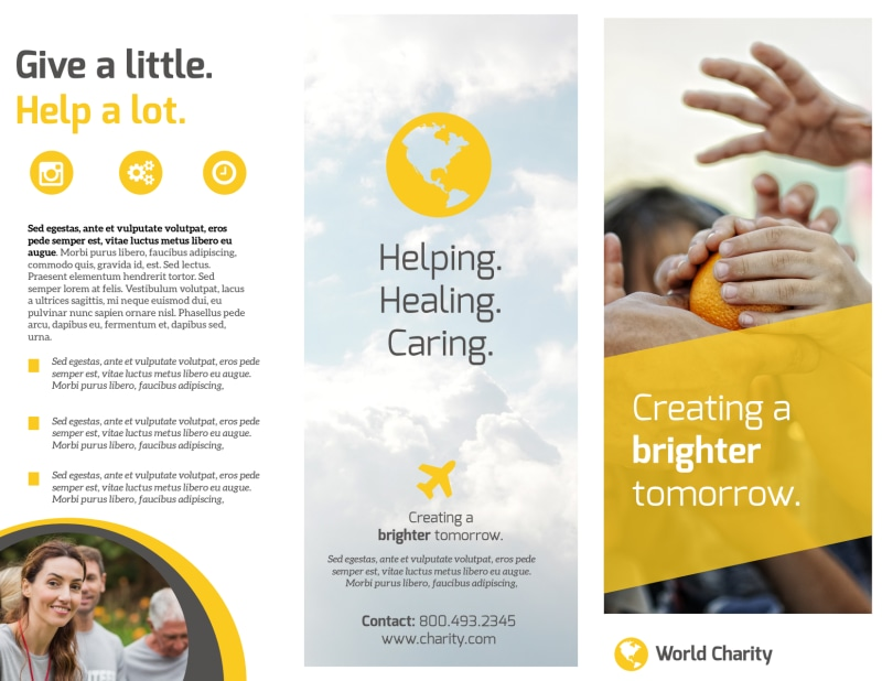 Awesome Charity Tri-Fold Brochure Template Preview 2