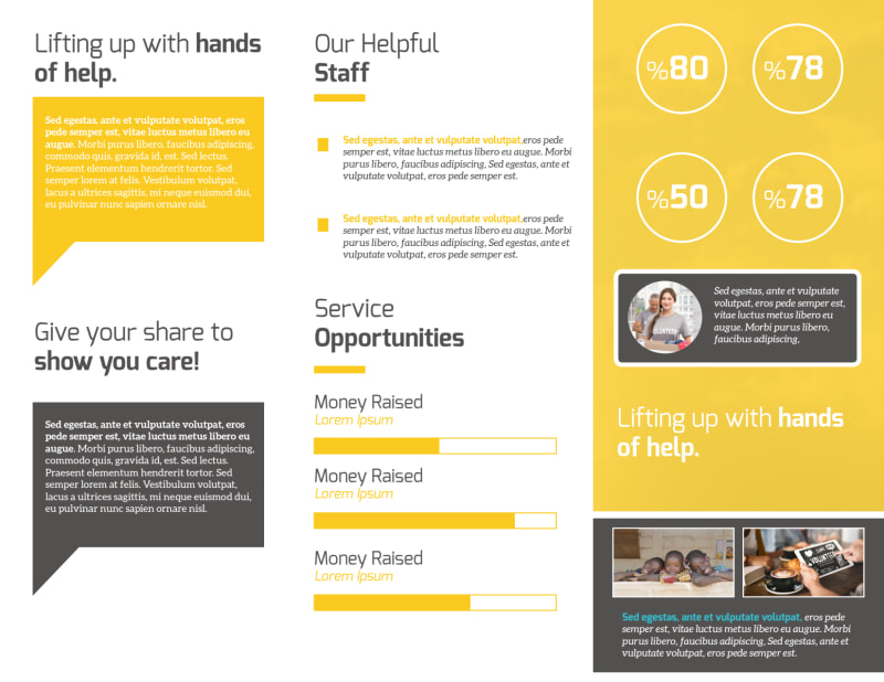 Awesome Charity Tri-Fold Brochure Template Preview 3