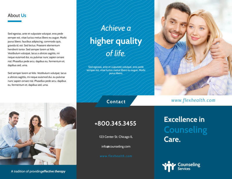 Excellent Counseling Tri-Fold Brochure Template Preview 2