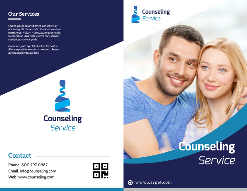 Counseling Service Bi-Fold Brochure Template Preview 2