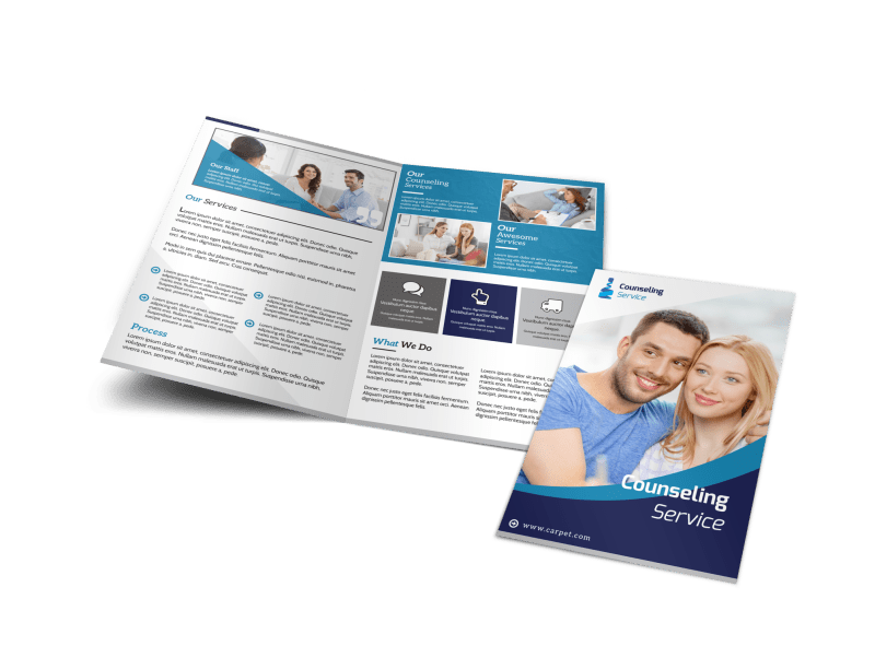 Counseling Service Bi-Fold Brochure Template Preview 1