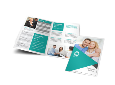 Teal Counseling Bi-Fold Brochure Template preview