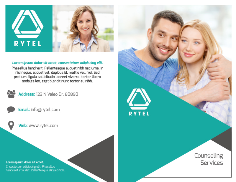 Teal Counseling Bi-Fold Brochure Template Preview 2
