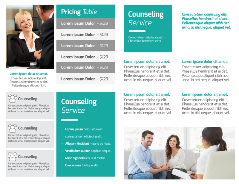 Teal Counseling Bi-Fold Brochure Template Preview 3
