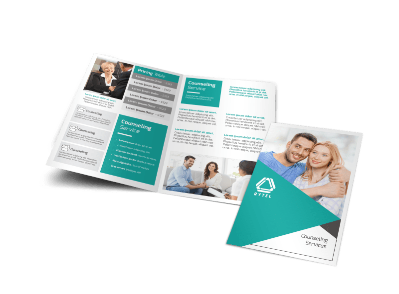 Teal Counseling Bi-Fold Brochure Template Preview 1