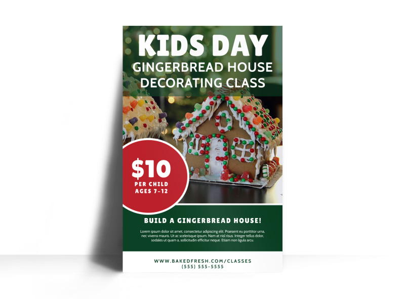 Christmas Gingerbread House Poster Template Preview 3
