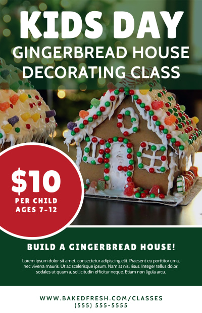 Christmas Gingerbread House Poster Template Preview 1