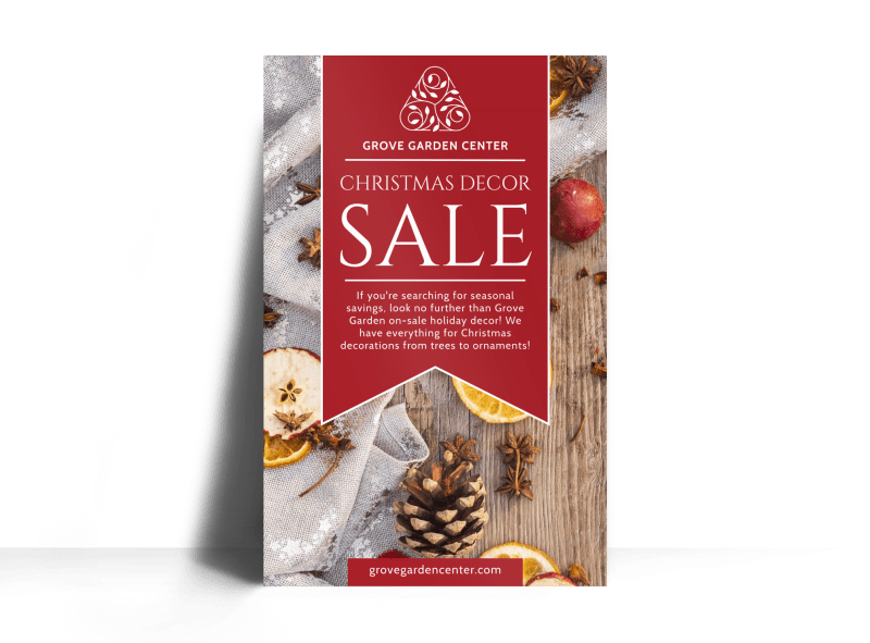 Christmas Decor Sale Poster Template Preview 1