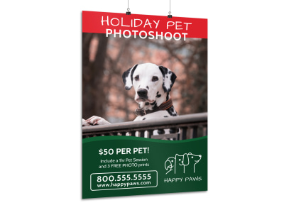 Holiday Pet Photoshoot Poster Template preview