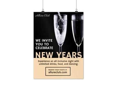 New Years Club Celebration Poster Template