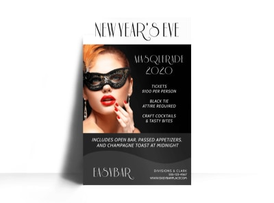 New Years Masquerade Poster Template