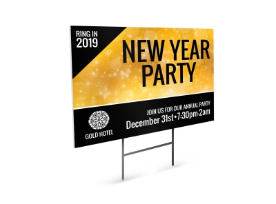 New Year's Party Yard Sign Template preview