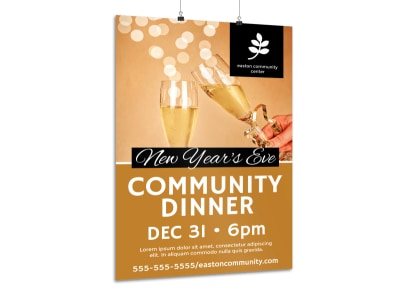 New Year's Community Dinner Poster Template