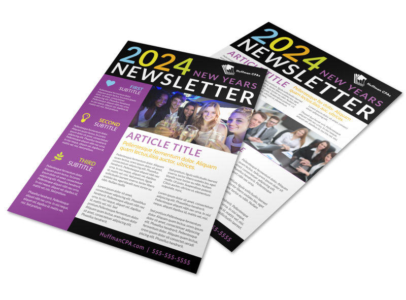 Christmas & new years newsletter template #91808.