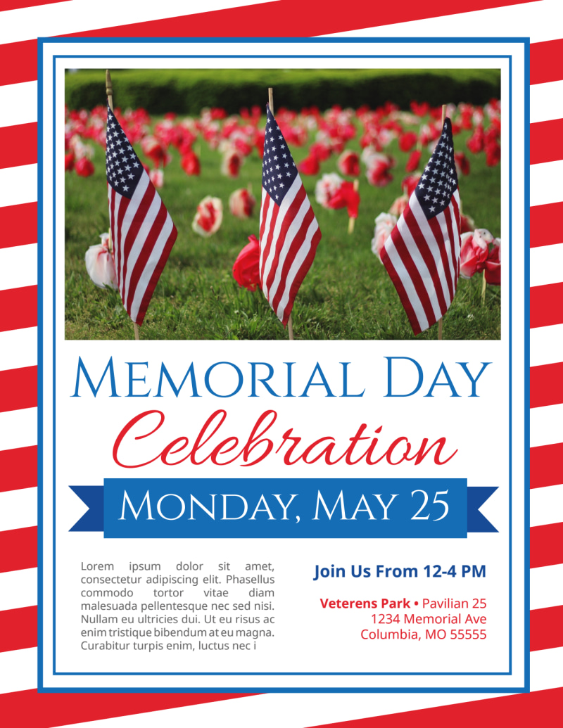 Classic Memorial Day Celebration Flyer Template Preview 2