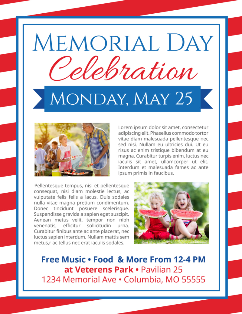 Classic Memorial Day Celebration Flyer Template Preview 3
