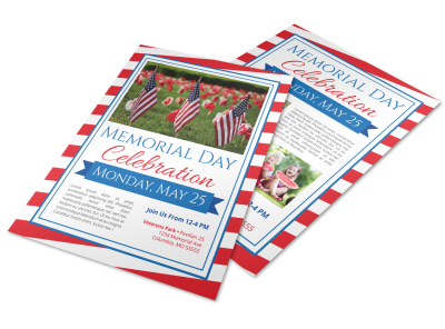 Classic Memorial Day Celebration Flyer Template preview