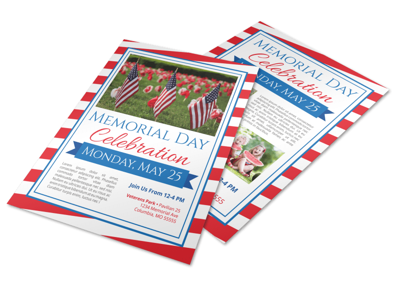 Classic Memorial Day Celebration Flyer Template Preview 1