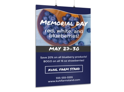 Memorial Day Blueberry Poster Template