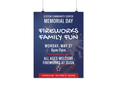 Memorial Day Fireworks Poster Template preview