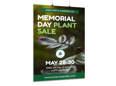 Memorial Day Plant Sale Poster Template preview