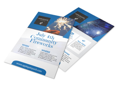 July Community Fireworks Flyer Template preview