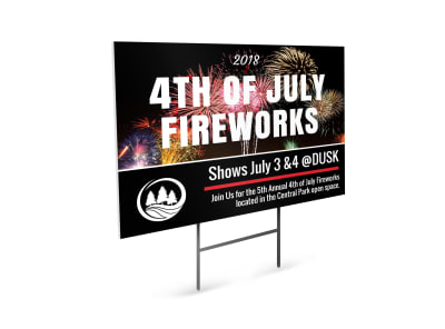 4th Of July Fireworks Yard Sign Template