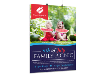 4th Of July Family Picnic Poster Template preview