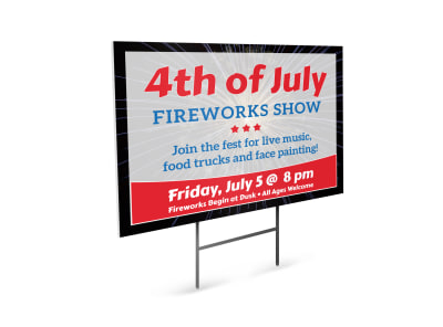 4th Of July Fireworks Show Yard Sign Template preview