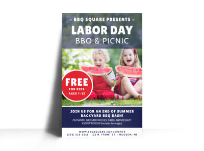Labor Day BBQ Poster Template preview