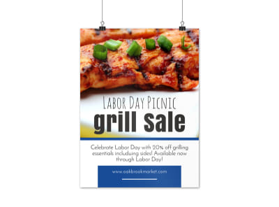 Labor Day Grill Sale Poster Template preview
