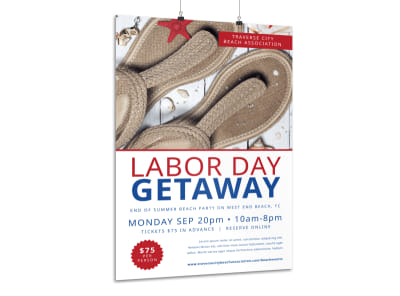 Labor Day Beach Party Poster Template preview