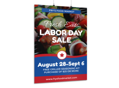 Labor Day Food Sale Poster Template preview