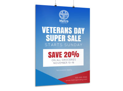 Veterans Day Super Sale Poster Template preview