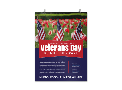 Veterans Day Park Poster Template preview