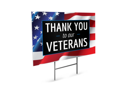 Veterans Day Thank You Yard Sign Template preview