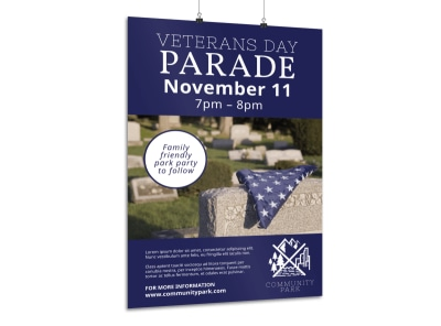 Veterans Day Parade Poster Template preview
