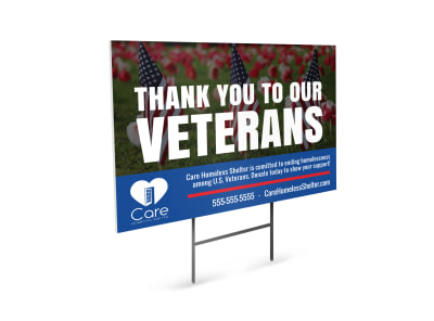 Veterans Day Appreciation Yard Sign Template preview
