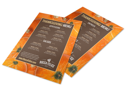 Thanksgiving Pumpkin Pattern Menu Template preview