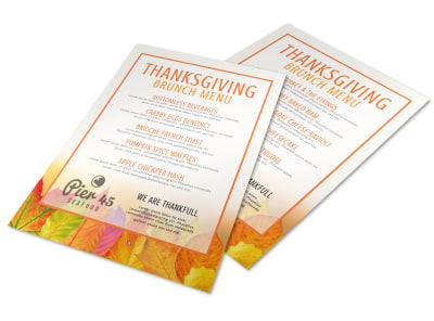 Fall Thanksgiving Brunch Menu Template preview