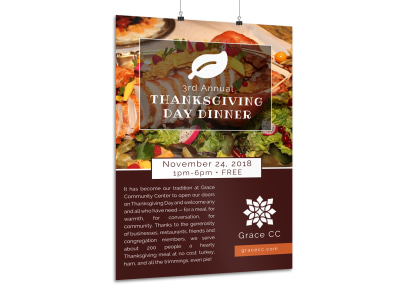 Thanksgiving Dinner Poster Template preview