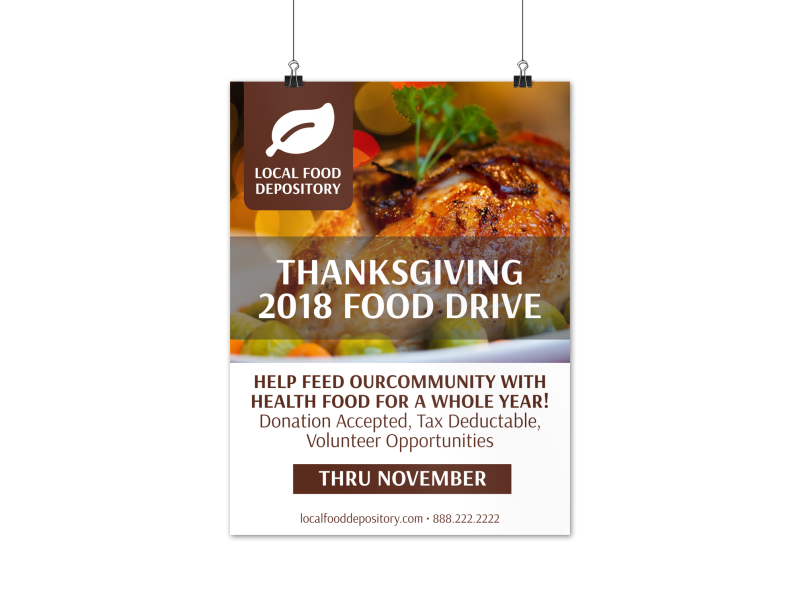 Thanksgiving Food Drive Poster Template Preview 1